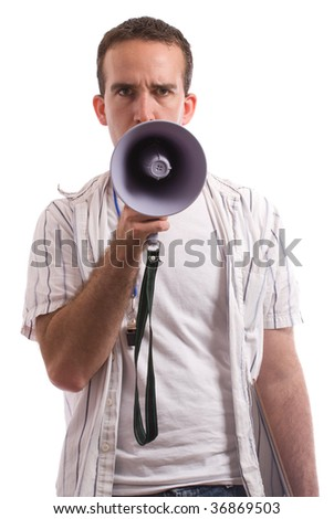 A young coach is talking into a megaphone, isolated against a white background