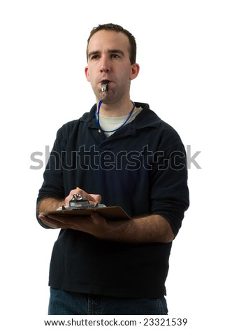 A young coach making notes on his clipboard, isolated against a white background - stock photo