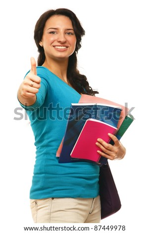 A young college girl showing ok - stock photo