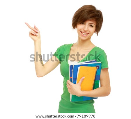 A young college girl showing something, isolated on white - stock photo