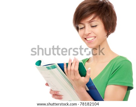A young college girl with a book - stock photo