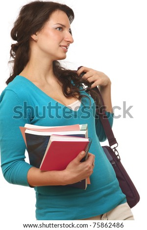 A young college girl with books