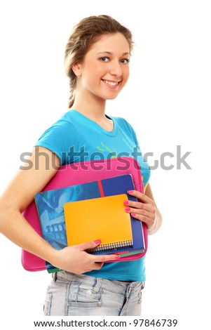 A young college girl with books, isolated on white background