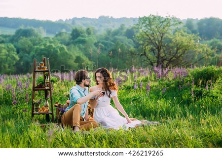 a young couple clink glasses with red wine on an outdoor quiet picnic - stock photo