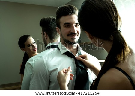 Young Couple Preparing Go Out Getting Stock Photo 417211264 ...