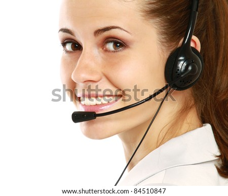A young customer service girl, side-view - stock photo