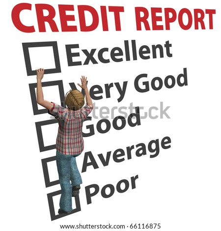 A young 3D woman debt consumer works to build up her credit score rating report - stock photo