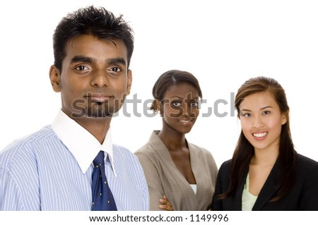 A young diverse business team of three different race individuals