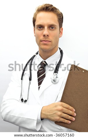 A young doctor with a stethoscope looking at camera
