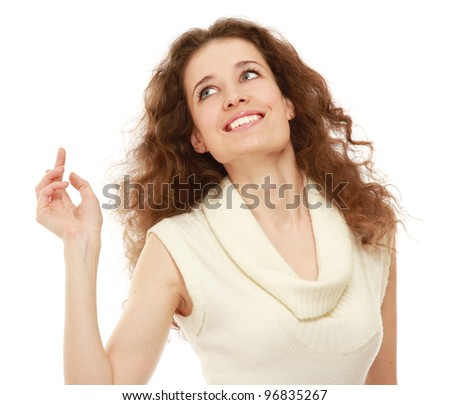 A young emotional woman , pointing something, isolated on white background - stock photo