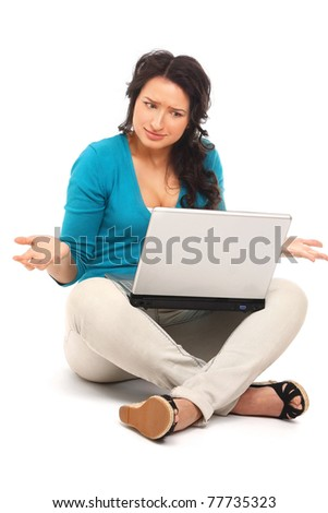 A young emotional woman with a laptop sitting - stock photo