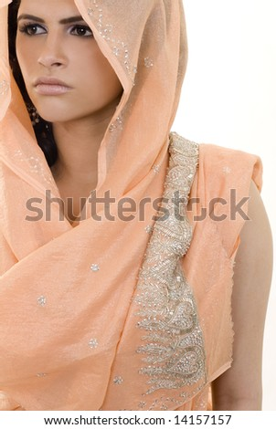 A young ethnic woman in a sari. - stock photo