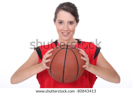 a young female basket-ball player - stock photo