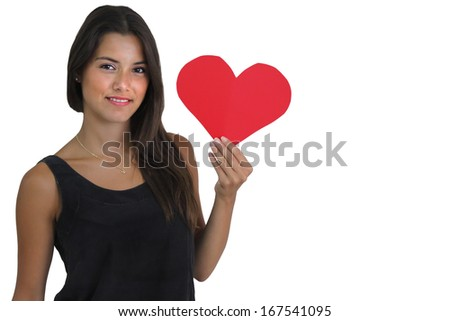 A Young Female Brunette Holding Heart Shaped Cut-out - stock photo