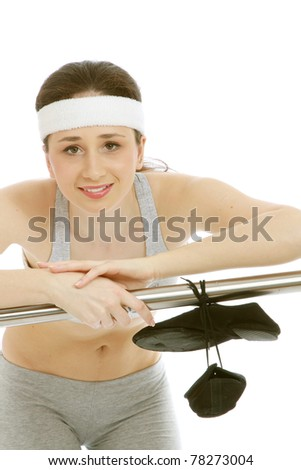 A young female dancer training - stock photo