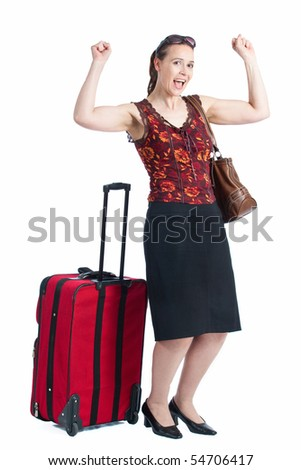 A young female passenger celebrating and happy on a white background - stock photo
