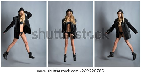 A young girl at the time of the jump. - stock photo