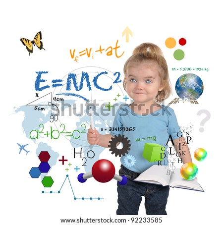 A young girl child is writing out math and science equations and formulas. She is standing on a white background. Use it for a school, study or learning concept.