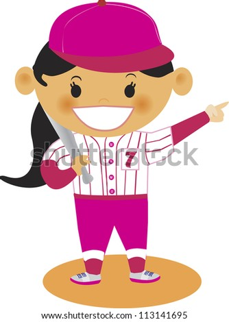A young girl dressed in baseball jersey - stock photo