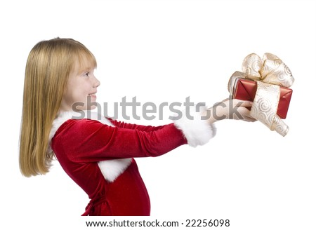 A young girl giving a  beautifully wrapped gift.