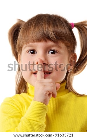 A young girl going shut up - stock photo