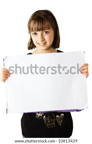 A young girl holding a blank white sign for your message