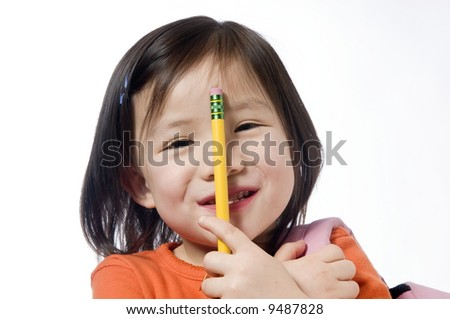 A young girl is ready for school. Education, Future - stock photo