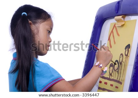 A young girl paints a picture. Family, love, bonding, education.