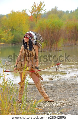 Native American Teenager Girls River