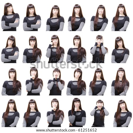 a young girl posing with many different facial expressions - stock photo