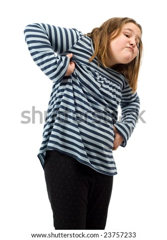 A young girl pretending to act like a monkey, isolated against a white background - stock photo