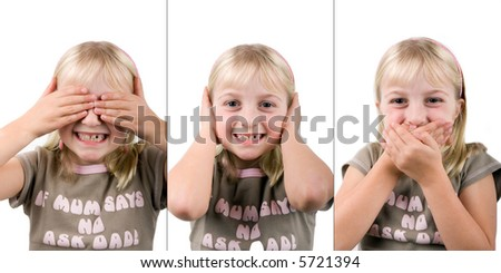 A young girl pretending to be the three wise monkeys