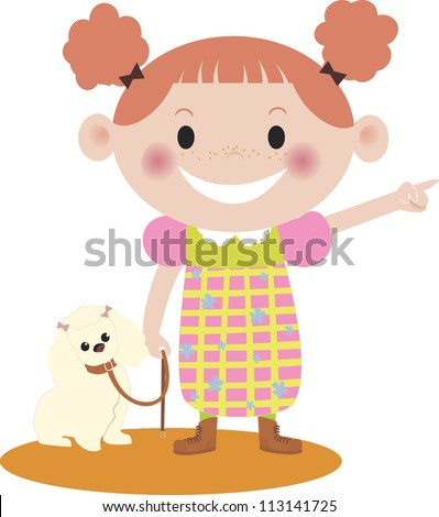 A young girl walking with her dog - stock photo