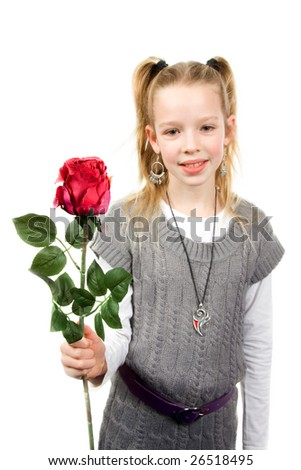 A young girl who gives you a rose, isolated on white background