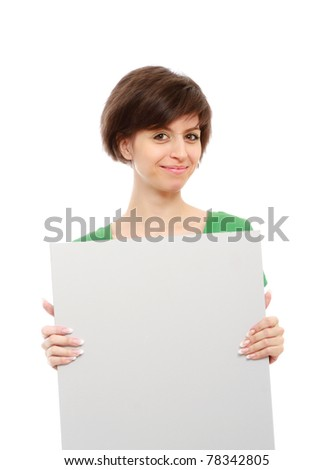A young girl with a blank - stock photo