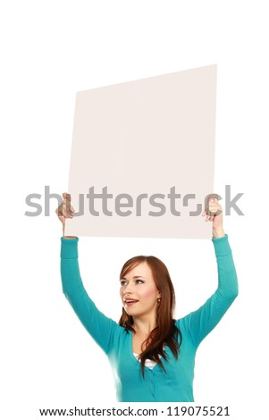 A young girl with a blank, isolated on white background