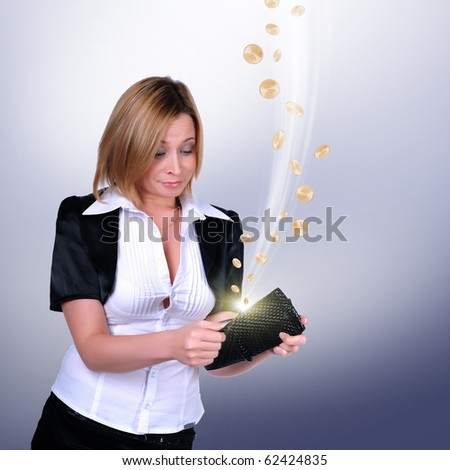 A young girl with a wallet from which cash flow ejected.Collage - stock photo