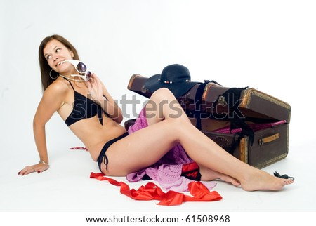 a young girl with case on the white background - stock photo