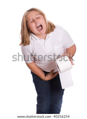 A young girl with diarrhea holding the toilet paper, isolated against a white background - stock photo