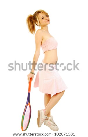 A young girl with her tennis racket 187 - stock photo