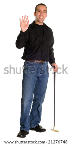 A young golfer waving at somebody, isolated against a white background - stock photo