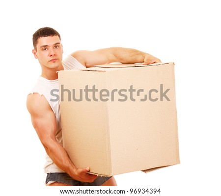 A young guy carrying a box , isolated on white background