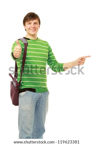 A young guy showing ok and pointing something interesting, isolated on white background - stock photo