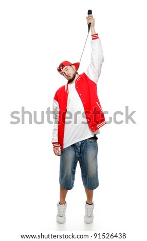 A young guy with a beard strangles himself microphone, isolated on white background. - stock photo