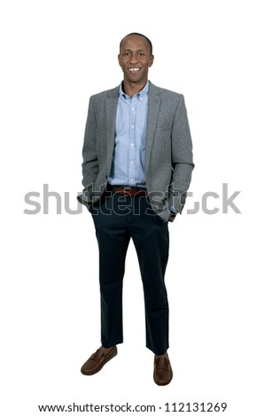 A young handsome black African American man with a lovely smile - stock photo