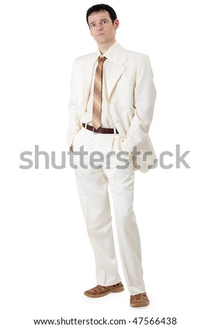 A young handsome businessman in a white suit - stock photo