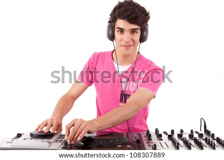 A young handsome deejay boy - isolated over white