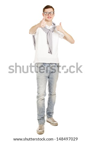 A young handsome guy showing ok, isolated on white background