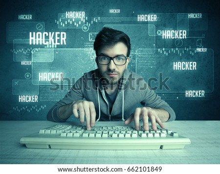A young handsome nerd hacking internet web sites while working on computer keyboard, with digital background illustration of numbers and letters concept