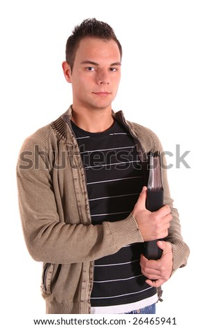 A young handsome student in front of a white background. - stock photo